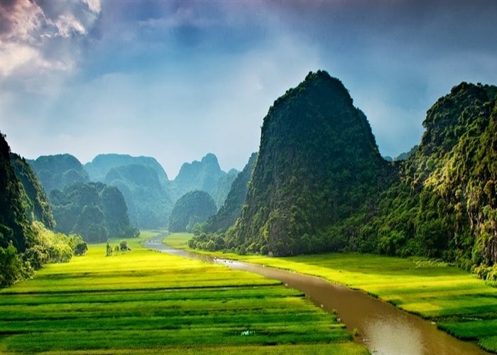 Tam Coc-Bich Dong tourism site in Ninh Binh, part of the Trang An Landscape Complex enthralls visitors with its beautiful yellow rice fields, Ngo Dong river and majestic mountain.