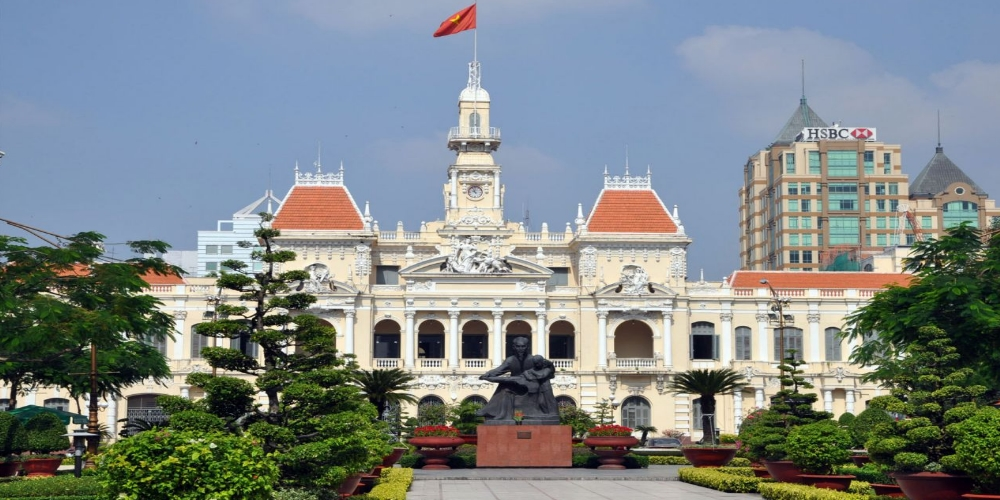 Ho Chi Minh City Hall or Saigon City Hall or Hôtel de Ville de Saïgon was built in 1902-1908 in a French colonial style for the then city of Saigon. It was renamed after 1975 as Ho Chi Minh City People's Committee.