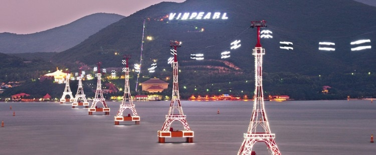 World's longest cable cars crossing the sea The ride of 3320m by the cable cars crossing the sea will take you across Nha Trang Gulf, one of the 29 most beautiful sea gulfs on the planet, to reach Vinpearl Land Nha Trang.