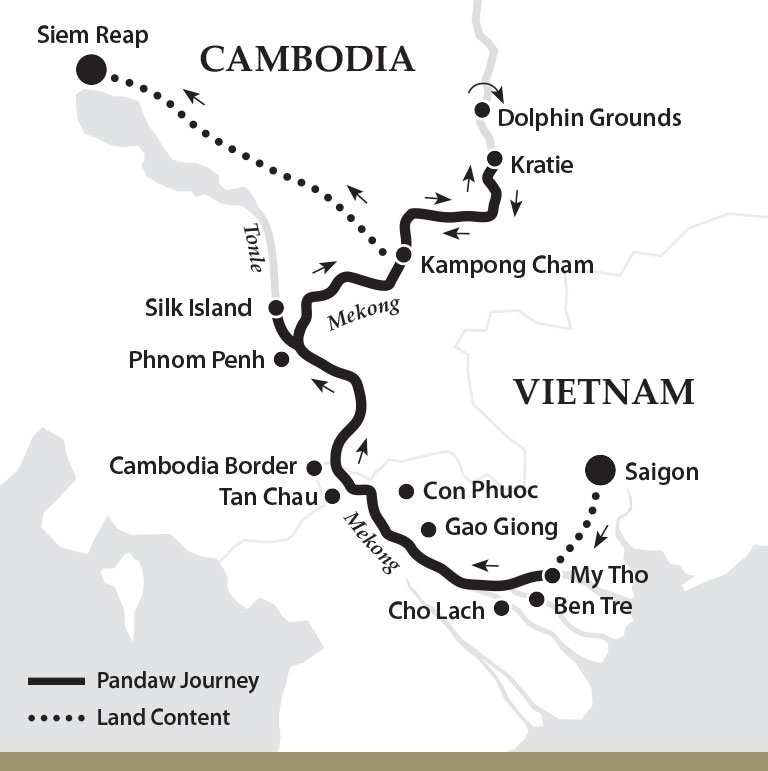 Pandaw expedition map. Mekong river cruises between Saigon and Seam Reap.